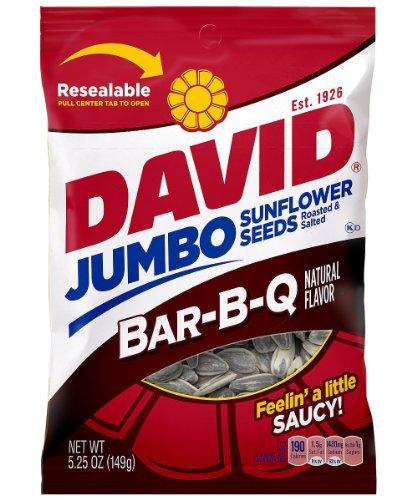 David Jumbo Sunflower Seeds Bar-B-Q Flavor 5.25 oz Bag
