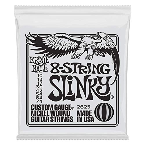 Prestige 7 String - Ernie Ball 8-String Slinky Nickel Wound Set, .010 - .074