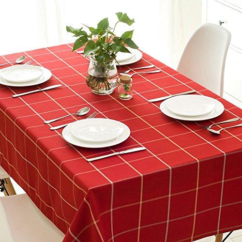 HXC Home 60  60 cm rosso Checker Impermeabile scandinavo Minimalista Instagram Garden Picnic Rettangolare da Pranzo tovaglia in Cotone Lino Quadrato Eco-Friendly Copre