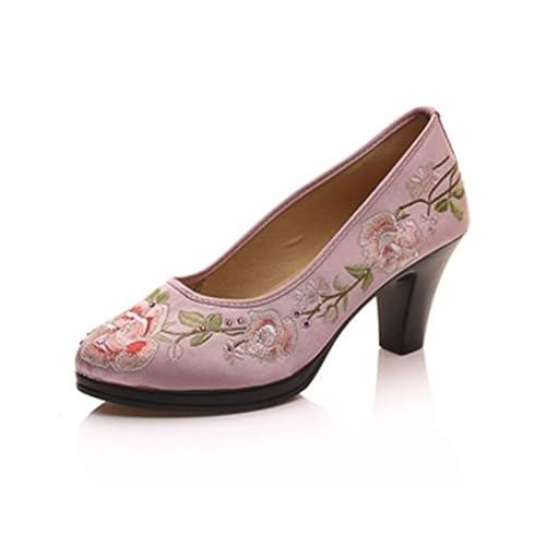 Bombas de Satén Zapatos Bordados Florales Mujeres Pedazo Redondo del Dedo del pie Bombas Retro de Las señoras Elegantes tacón Medio: Amazon.es: Zapatos y ...