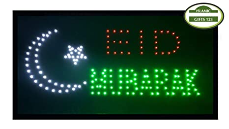 Halal-Eid Mubarak-Open LED Sign LED Neon Light Open Sign Highly Visible  with Color Animation Power On/Off-Islamic Sign-Islamic Gifts 123-USA