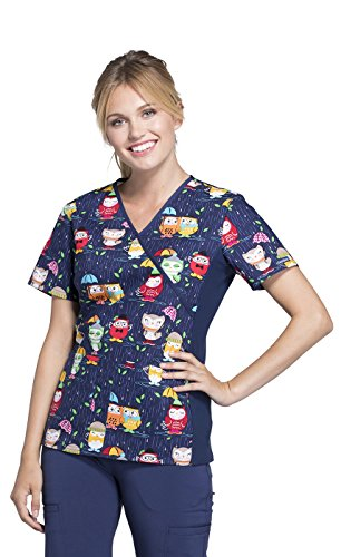 Cherokee Womens Mock Wrap Soft Side Panel Owl Print Scrub Top,Playful Puddles,Medium
