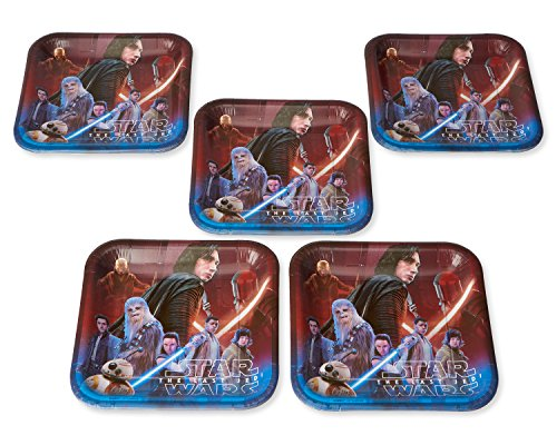 American Greetings Star Wars: The Last Jedi 40 Count Dinner Square Large Party Plates -