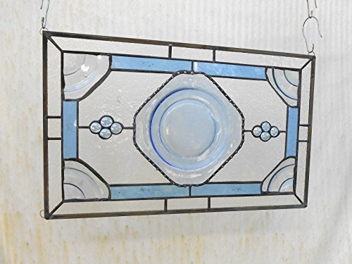 Stained Glass Transom Window, Depression Glass Madrid Stained Glass Window Panel, 1930 Stained Glass Valance, Antique Window, Vintage (Stained Glass Transom)