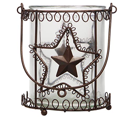 Lantern Rustic Candle Holder Hurricane Indoor Outdoor Glass Metal Farmhouse (7″ x 6.5″)
