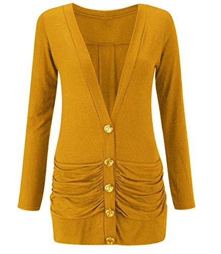 Poches Mustard 3XL Femmes Top Dames Fashions Cardigan Bouton Islander Boyfriend M S Manches Pull Longues Ruch fBgUxZ