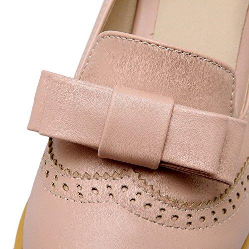 Allhqfashion Femmes Tirer Sur Bout Fermé Bout Fermé Chaton Talon Solide Pompes-chaussures Rose