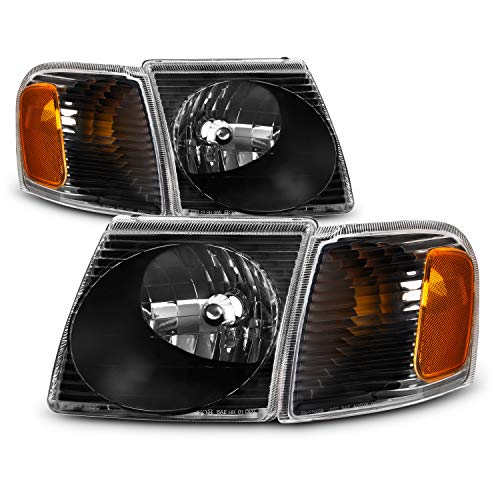 (For 2001-2005 Ford Explorer Sport Trac Black Housing Headlight + Corner Lamp Assembly )