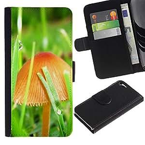 Be Good Phone Accessory // Caso del tirón Billetera de Cuero Titular de la tarjeta Carcasa Funda de Protección para Apple Iphone 5 / 5S // Mushrooms and grass