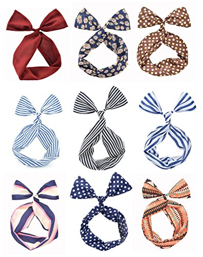Price comparison product image Cloris Twist Bow Wired Headbands Scarf Wrap Hair Accessory(9 Pack)