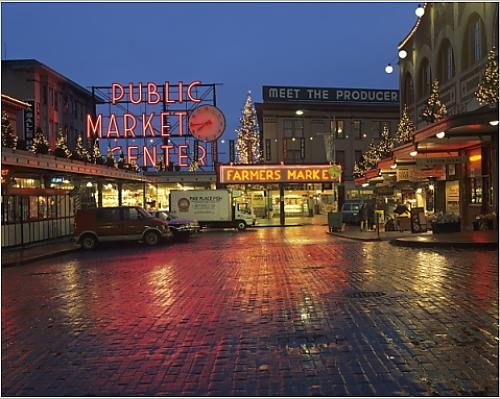 - Media Storehouse 10x8 Print of WA, Seattle, Market Entrance at Pike Place Market Before Dawn (8154681)