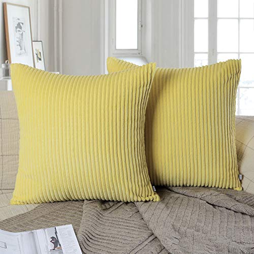 Yellow Striped Pillow - Ashler Pack of 2 Corduroy Soft Velvet Striped Solid Square Throw Pillow Covers Cushion Cases 20 x 20 inch Yellow