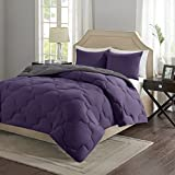 Alternative Comforter - Comfort Spaces – Vixie Reversible Goose Down Alternative Comforter Mini Set - 2 Piece – Purple and Charcoal – Stitched Geometrical Diamond Pattern – Twin/Twin XL size, includes 1 Comforter, 1 Sham