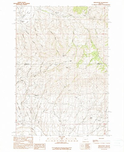 Oregon Maps - 1990 Bridgeport, OR USGS Historical Topographic Map - Cartography Wall Art - 44in x ()