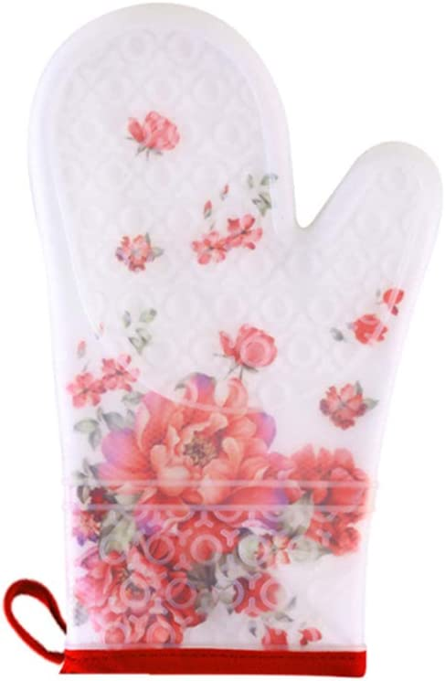 Silicone Oven Gloves, Double Protection Thickening Lengthen Baking Gloves,Heat Resistant Microwave Oven for Cooking,Grilling,Barbeque(2 piece),Peony