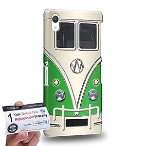 Case88 [Sony Xperia Z2] 3D impresa Carcasa/Funda dura para & Tarjeta de garantía - Art Fashion Green Retro Bus Mini Van