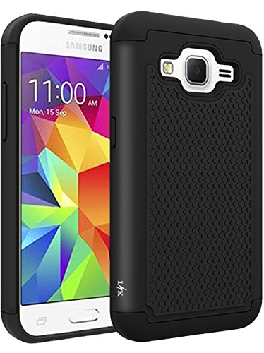 LK Case for Core Prime, [Shock Absorption] Hybrid Dual Layer Armor Defender Protective Case Cover for Samsung Galaxy Core Prime (Black)