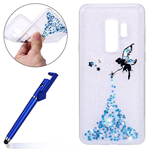 Galaxy S9 Galaxy TPU Bling in Sequins Ultra Flexible catching Cover angel Sottile Glitter Silicone plus Morbida Copertura Silicone MoreChioce Eye Transparent Bling Strass Custodia S9 blu Gel Case Silicone plus dqIXxIAw