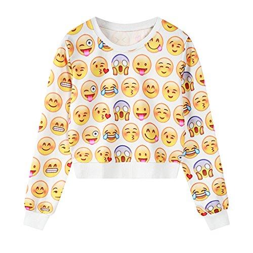 Jiayiqi Mujer Colorida Impresión Ocasional De La Camiseta De Manga Larga Tops Suéteres No 6