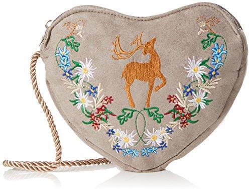 Alpenflüstern - Trachtentasche Herziger Hirsch, Bolsos bandolera Mujer, Braun (Taupe), 3x17x19 cm (B x H T)