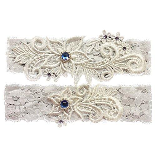 Ivory Satin Garter - Lace Bridal Garter Belt Set with Blue Rhinestone Beaded Wedding Keepsake Garter Ivory