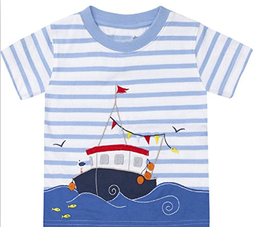 Ship Applique - OHBABYKA Baby Boys Summer Cotton Short Sleeve Tops,Character Applique (4T, Ship-1)