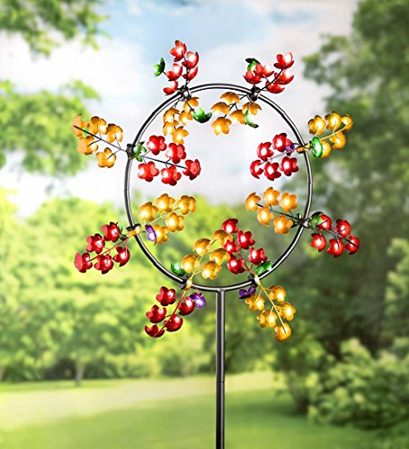 Medium Jubilee Outdoor Metal Garden Wind Spinner Sculpture 32 dia. x 75 H (Show Patio Hearth And)