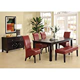 Monarch Specialties Leather-Look High Parson Chair, 40-Inch, Burgundy, Set of 2