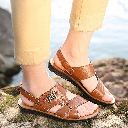 estate vera pelle sandali Uomini Spiaggia scarpa Uomini sandali Uomini scarpa traspirante Tempo libero scarpa Uomini tendenza ,giallo,US=9,UK=8.5,EU=42 2/3,CN=44