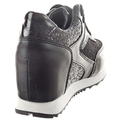 Sopily - Scarpe da Moda Sneaker Zeppa alla caviglia donna lucide Tacco zeppa 6.5 CM - Nero