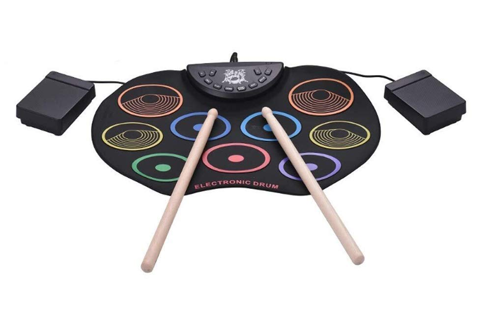 Electronic drum Set, USB 9 Pad Color Portable Roll Up Drum Pad Kits Foldable Musical Practice Instrument- Send Drum Sticks and Pedals by Electronic drum