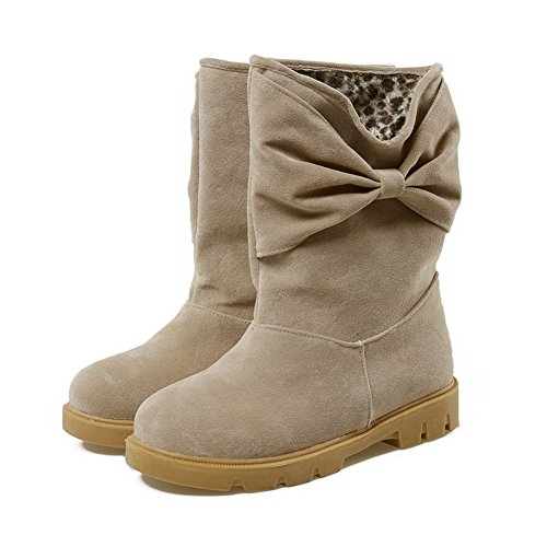 AgooLar Women's Low Heels Solid Pull On Frosted Round Closed Toe Boots Beige PEuz4qI