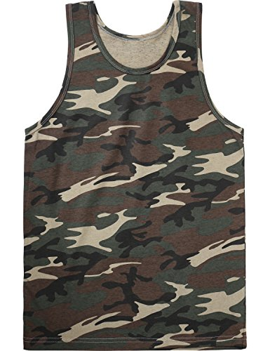 Hat and Beyond Mens Tank Top Muscle Fit Active Exercise Sleeveless Shirt (Large, 1KS0012_Camouflage)