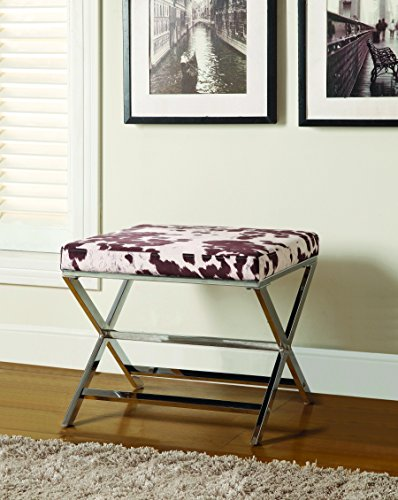 Coaster Home Furnishings 500118 X-Shaped Bench Ottoman, Cow Print, Chrome Base (Print Ottoman Cow)