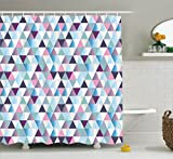 Pink and Navy Shower Curtain Ambesonne House Decor Collection, Diamonds Triangle Abstract Pattern and Geometric Fashion Stylish Print, Polyester Fabric Bathroom Shower Curtain Set with Hooks, Pink Navy Blue Purple White