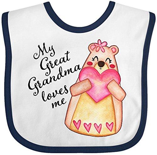 (Inktastic - My Great Grandma Loves Me- bear with heart Baby Bib White/Navy 2fff3)