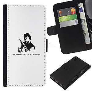 Sony Xperia Z4 / Sony Xperia Z4V / E6508 , la tarjeta de Crédito Slots PU Funda de cuero Monedero caso cubierta de piel ( Ninja Gun Man Tough Strong Quote Funny Movie)