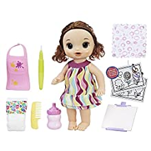 Baby Alive Finger Paint Baby: Brown Hair Doll, Drinks & Wets, Doll Accessories Includes Art Supplies, Bottle and Diaper, Great Doll for 3-Year-Old Girls & Boys and Up (Amazon Exclusive)