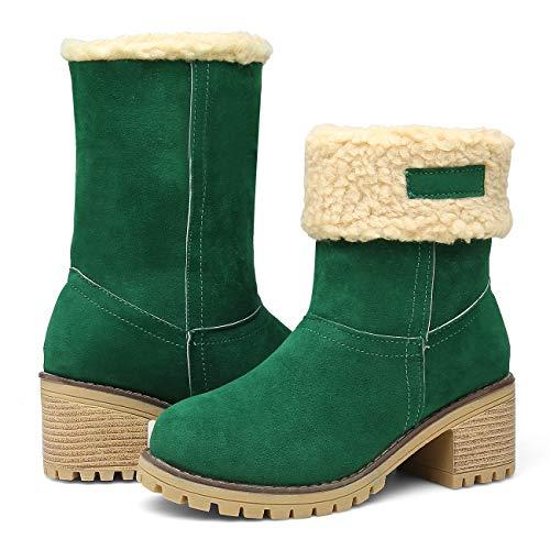 Womens Green Mid Heel - EAST LANDER Women's Winter Short Boots Faux Suede Chunky Heel Booties SN01-Green-42