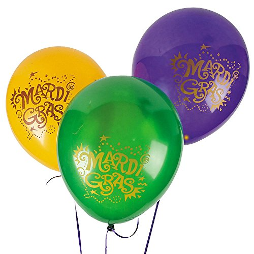 24 MARDI GRAS Fat Tuesday Party Decorations Latex BALLOONS