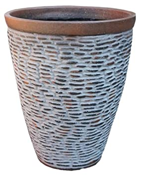 Rustic Stone Large Plant Pots Round Tall Plastic Planters Indoor Outdoor Garden 25 7 Litre