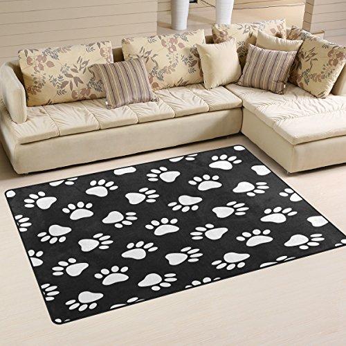 WOZO Black White Footprint Paw Print Area Rug Rugs Non-Slip Floor Mat Doormats Living Room Bedroom 60 x 39 inches (Paw Print Rug)