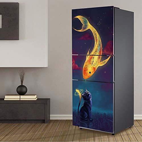 yazi Animal Stickers frigo autocollant de Cuisine amovible mur décoratif Art Accessoires, Cat and Fish, 60X180cm/23x71inch