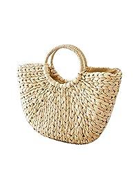 Pawaca Women Round Straw Shoulder Bag Weave Summer Beach Top Handle Handbag - Summer Beach Bag,Straw Handbag Top Handle Shoulder Bag Travel Tote Purse,Handbag Straw Woven for Women and Girls