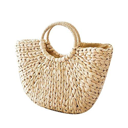 Straw Bag Tote Handmade Woven Handbag Tote Fashion Beach Straw Bags For Women