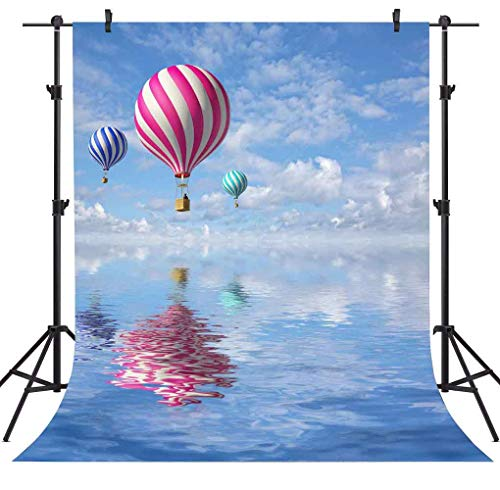 (FLASIY Hot Air Balloon Photography Backdrop 5x7ft Blue Sky White Clouds Photo Backgrounds Children Newborn Party Photo Studio Props)