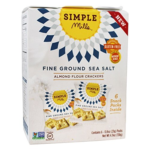 Simple Mills Almond Flour Cracker Snack Pack, Fine Ground Sea Salt, Naturally Gluten Free, 4.9 oz