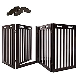 """Arf Pets Free Standing Wood Dog Gate with Walk Through Door, Expands Up to 80"""" Wide, 31.5"""" High - Bonus Set of Foot Supporters"""