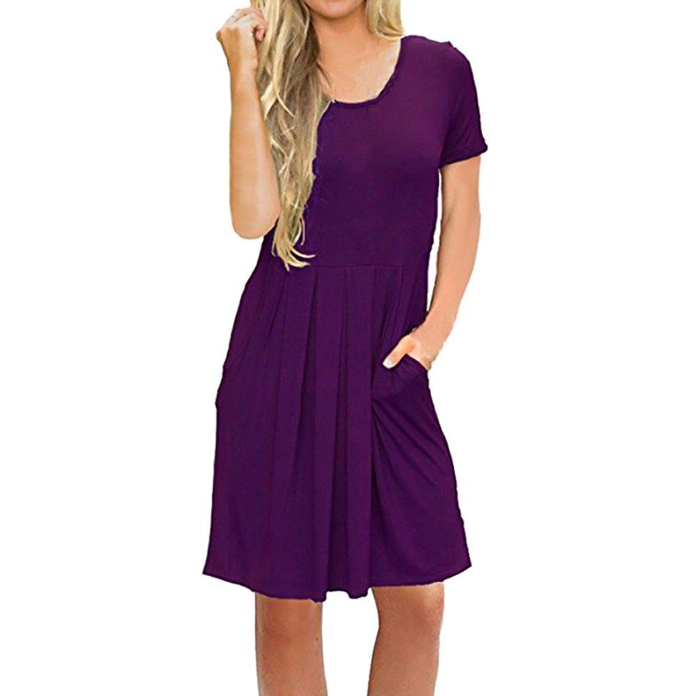 Women's Swing Loose T-Shirt Fit Comfy Casual Flowy Cute Swing Tunic Dress Purple
