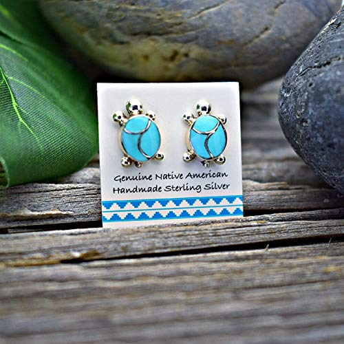 (12mm Genuine Sleeping Beauty Turquoise Stud Earrings in 925 Sterling Silver, Inlay Turtle Design, Authentic Navajo Native American, Handmade in the USA, Nickle Free )